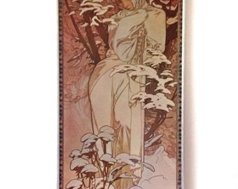 Vintage art print on board Alphonse Mucha Winter Art Nouveau
