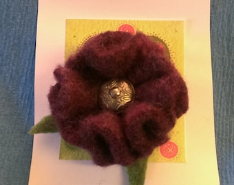 Recycled Felted Wool Sweater Flower Brooch (burgandy)