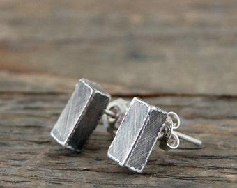 SALE !  15 % off -simple silver cube, oxidized silver, cube earrings, silver earrings