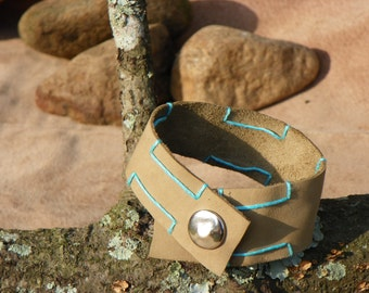 Stitched Leather Cuff Bracelet, Tan Leather Snap Cuff, Snap Bracelet