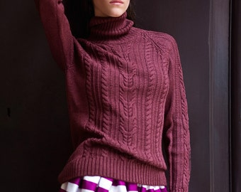 """Sweater """"Cable"""" (Ruby Wine)"""