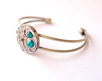 Steampunk Bracelet Vintage Watch Movement & Emerald Green Crystals