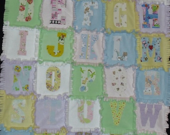 ABC Pastel Fleece Rag Quilt