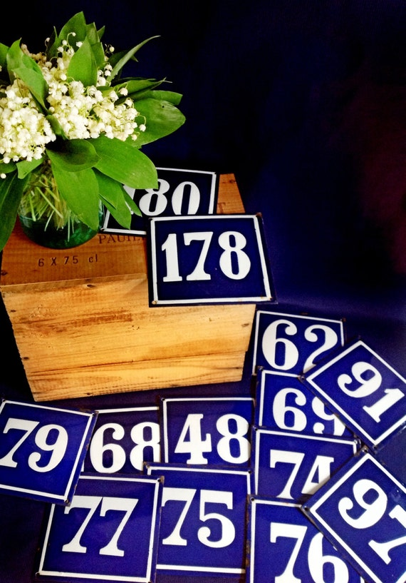 Vintage French Blue and White Enamel House Number Signs, 12 Available (price is for one)