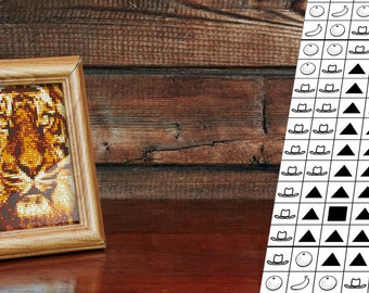 Tiger Cross Stitch Pattern. Photo-realistic and intuitive design with only 6 DMC colors!
