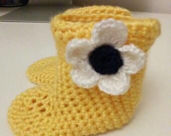 Yellow Baby Booties, Handmade Baby Slippers, Yellow Daisy Booties, Crocheted Slippers, Handmade Baby Boots, Baby Booties,