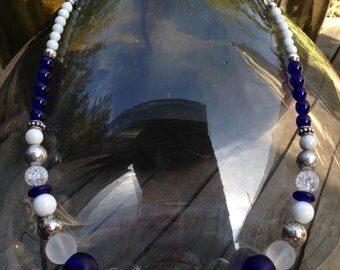 Vintage Beads Necklace - Blue & White