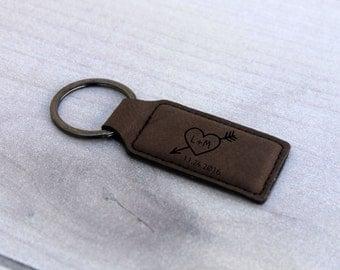 Personalized Key chain, Custom Key chain, Custom Leather Key chain, Engraved Leather Key Chain, Newlywed Gifts, --KEY-LRDB-HeartInitial