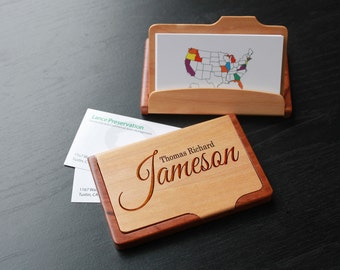 Personalized Business Card Holder, Custom Business Card Holder, Engraved Business Card Holder, Business Card holder --BCH-MR-JAMESON