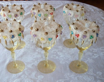 Hand Decorated Wine Glass Covers - Vintage Doilies, Set of 6
