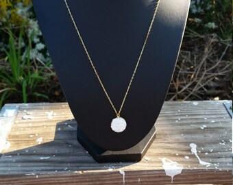 Pearl faux druzy neckalce ~ Gold faux druzy necklace