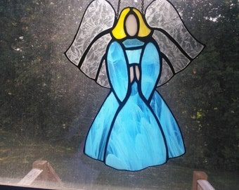 Stained glass Angel in blue