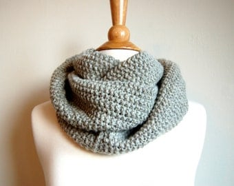 Natural Gray Infinity Scarf Hand Knit Cowl Neckwarmer