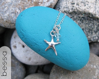 ONLY 19.99 Sterling Starfish Charm Necklace, Friendship Gift, Ocean, Strength, Beach Wedding, Bridesmaids, Gifts under 20, Stocking Stuffers