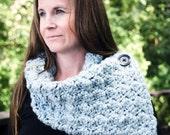 CROCHET PATTERN,  Chunky Cowl Crochet Pattern, Chunky Button-up Scarf Pattern, Crochet Pattern for Women - Instant Digital Download
