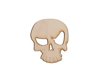 Wooden Skull Logo - Halloween Laser Cut Plywood Craft Supply - 1qty - 3.4 x 4 Inch (8.636 x 10.16cm) Skull Logo