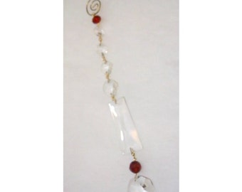 Lamp Crystal Sun Catcher - Trapezoid with Octagons and Red Bead - No. 908