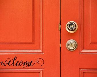 Vinyl decal, welcome, vinyl wall decor, door decal, window decal, vinyl wall art, removable vinyl letters, typography