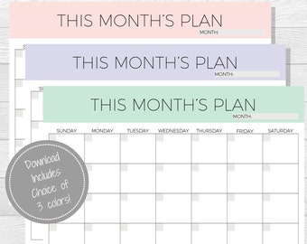 Monthly Planner Printable - 2017 Planner - Monthly Planner pdf - Printable Organizer - Monthly Organizer - 2017 Monthly Planner - Undated