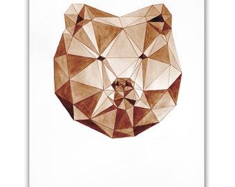 ORIGINAL watercolor Grizzly Bear, Aquarelle Handmade Painting Geometric Art Animal Wildlife