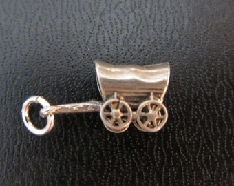 Sterling Silver Covered Wagon 3D Charm Pendant