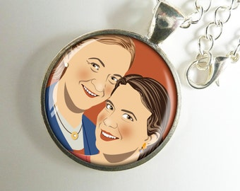Pendant with the Custom Portrait of 2 people, digital drawing - unique gift ... mother and daughter, girlfriends, birthday, anniversary ...