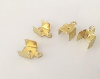 8x11 mm raw brass 50 pcs Fold Over Crimp Head Clasps