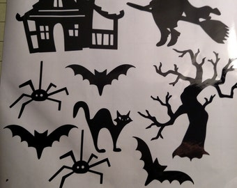 Halloween Window Clings - 12 x 12 sheet with 9 images