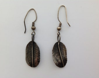 SALE Vintage Sterling Silver Dangle Earrings - Leaf Shape - Boho Gypsy Hippie Style Jewelry - Collectible - Retro Mid Century - Gift for Her