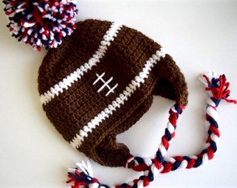 Newborn and Baby Football Hat with Pom Pom, Red, White, and Blue Football Earflap Hat with Braids, Photo Prop