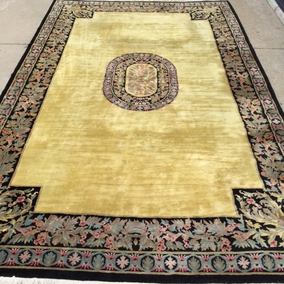 "11' x 17'6"" Chinese Aubusson Palace Size Oriental Rug - 1980s - Hand Made - 100% Wool - Vintage - Full Pile"