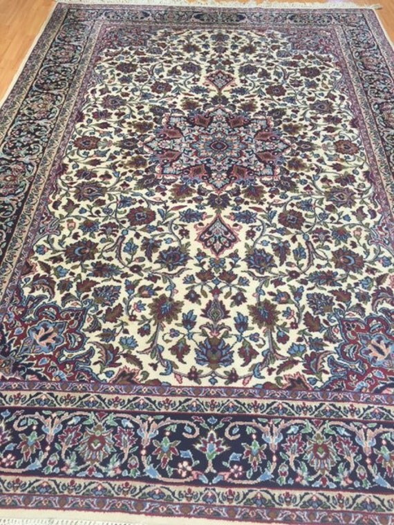 7' x 10' Persian Kerman Oriental Rug - 1980s - Hand Made - 100% Wool - Full Pile - Vintage