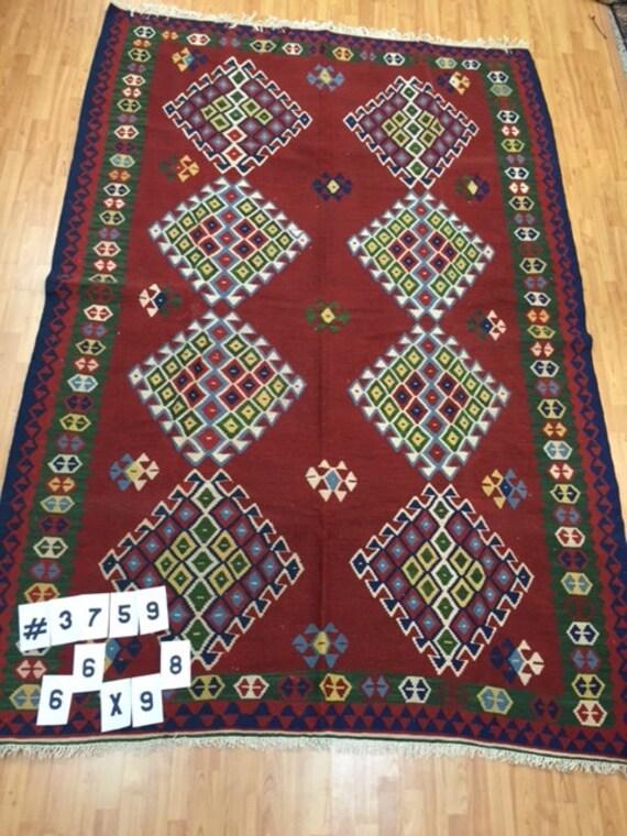 "6'6"" x 9'8"" Persian Kilim Oriental Rug - Hand Made - 100% Wool - Flat Weave"
