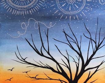 Walking at Dusk (print)- tree art print, boho art, sunset art print, stars, painting, wall art, home decor, handmade 8x10