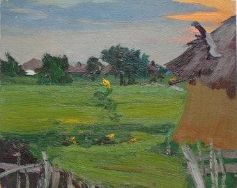 IMPRESSIONIST RURAL LANDSCAPE Vintage Original Oil Painting «Evening in the village» by Suhoripa N. 1970s, Handmade art, Fields, Meadows