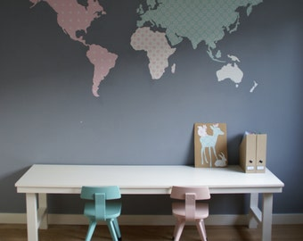 World map cut out of wallpaper