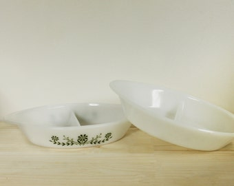 Set of 2 Vintage Glasbake Divided Casserole Dish, Green Daisy Print