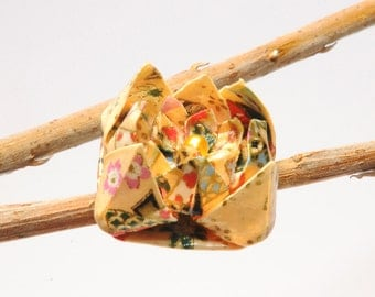 """Brooch in origami """"Beige Rose with the heart of gold"""""""