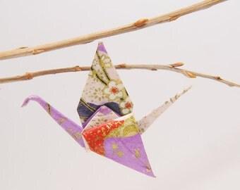 "Origami ""Winged purple cranes of sakura"" pin"