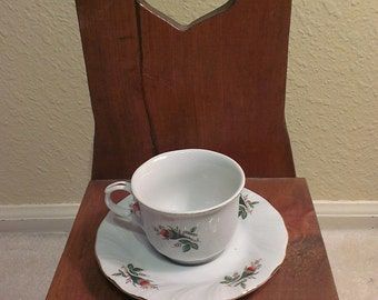 Lynn's Fine China Tea Cup and Saucer - with Rose