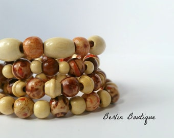 Stained Wood Bracelet Set