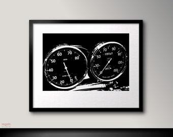Bike speedo tachometer, Motorcycle art, Black and white wall art, Black art, Black print, Motorcycle print, Vintage cafe racer, Black poster