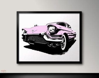 Printable Pink Cadillac, Car art, Printable art print, Vintage Old car, Car print art, Car poster, Printable wall art, American dream