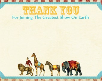 Vintage Circus Carnival Thank You Card / Download / Digital File