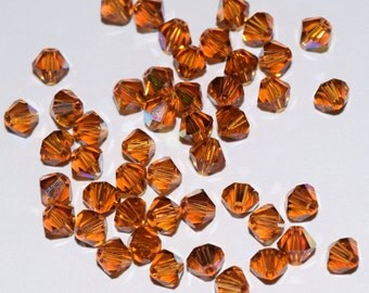 Topaz AB Bicone Swarovski beads 4mm, 50 Beads, 100 Beads