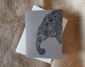Patterned Elephant Greeting Card  |  Notecard  |  Blank Card