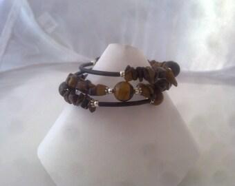 SALE Tigers Eye Memory Wire Bracelet