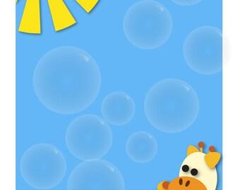 Giraffe with soap bubbles - birthday