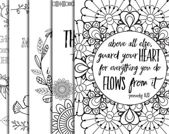 5 bible verse coloring pages set 1 inspirational quotes diy adult coloring pages printable sheets jpg - Watercolor Pages