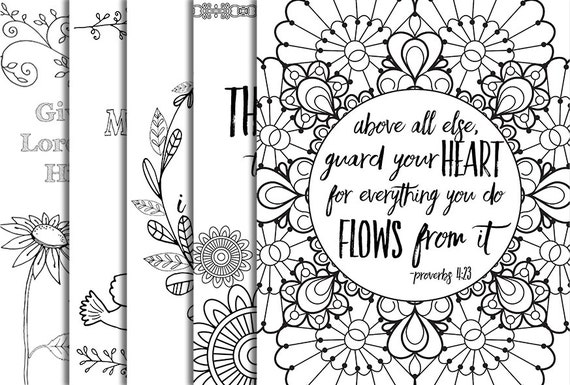 5 Bible Verse Coloring Pages Set 1 Inspirational Quotes DIY Adult Printable Sheets JPG Instant Download Floral Wreath